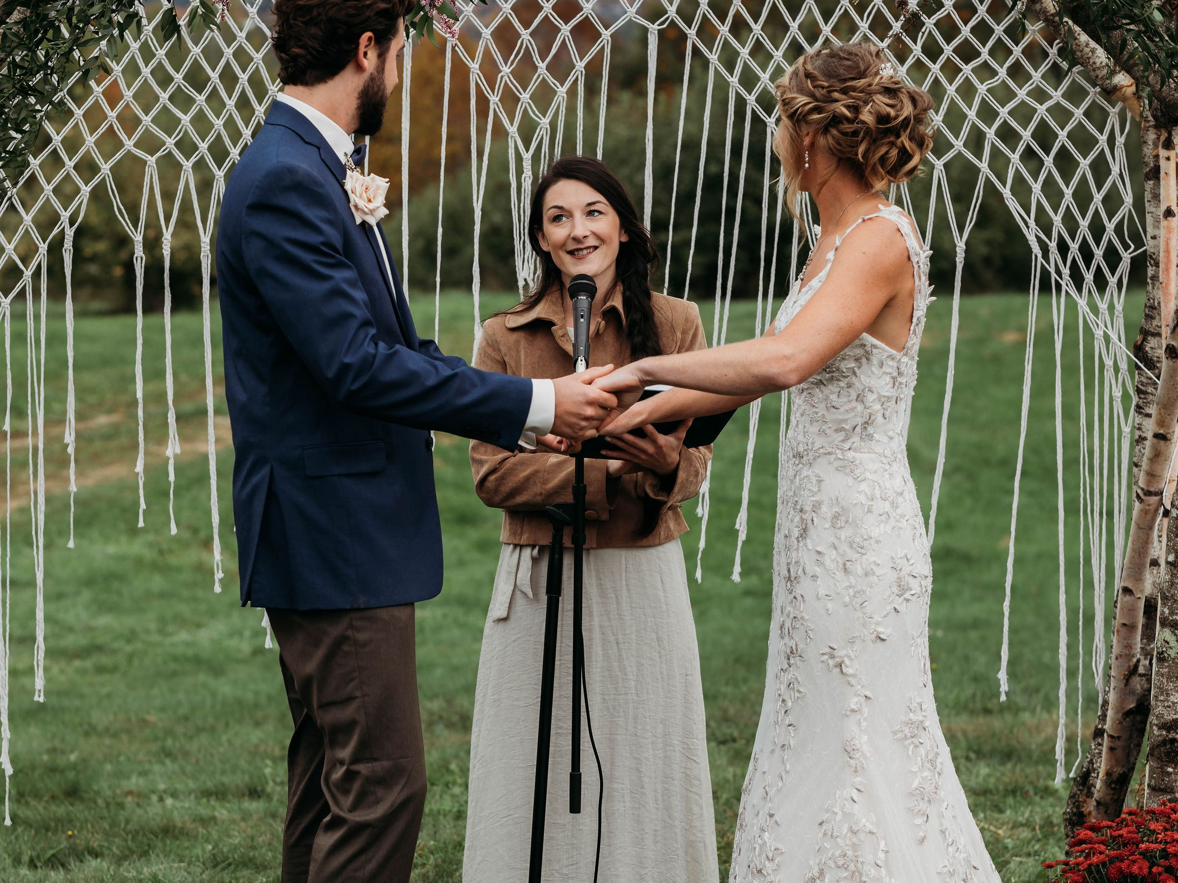 Engaged Couples getting married hear story behind Maine Wedding Officiant, Vivianna Adams