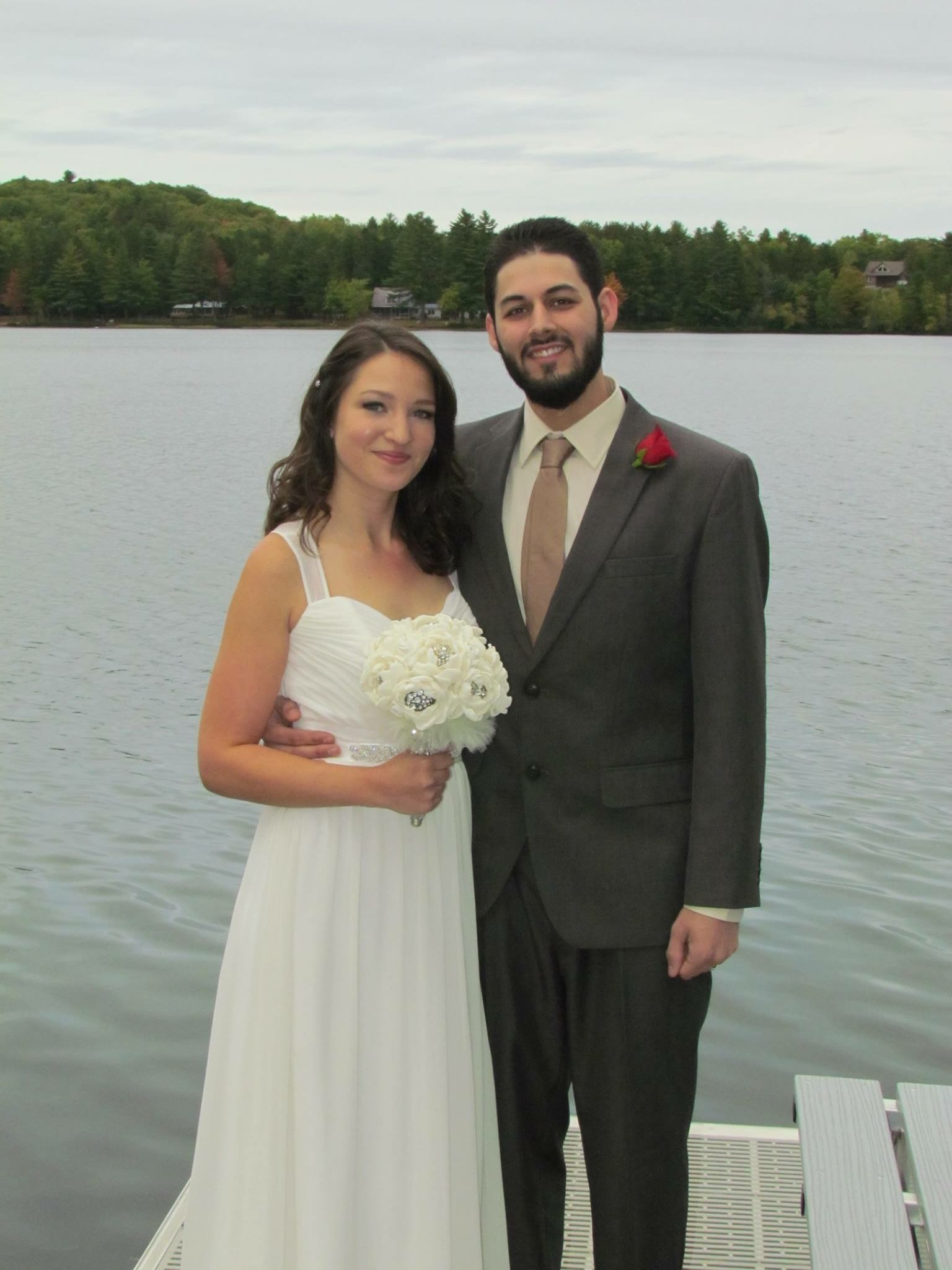 Intimate wedding ceremony at cabin on water in Maine