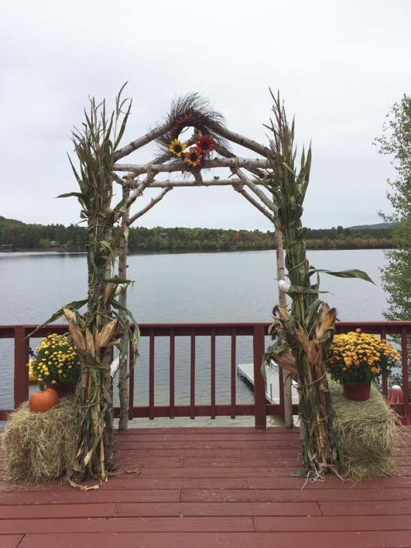 Rustic fall wedding on the water Brownfield, Maine