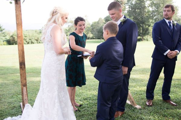A very special job for the ring bearer during the wedding ceremony