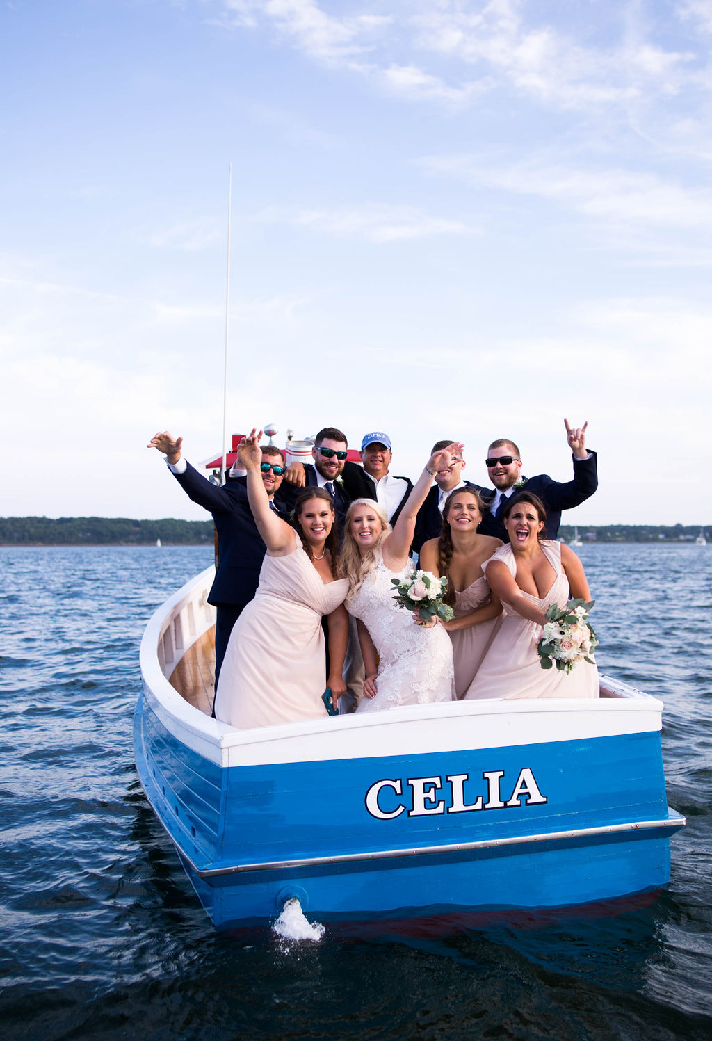 Wedding party on a boat in Maine